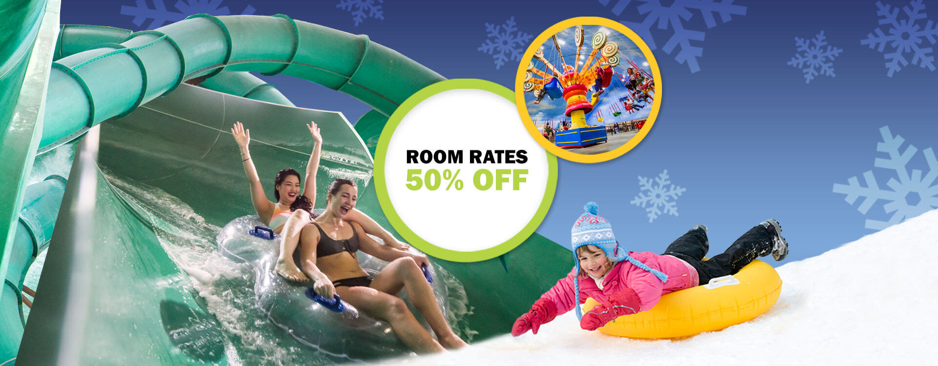 50 percent off your Room Rates When you Pay Now.